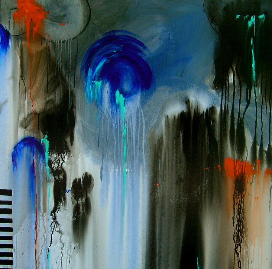 Abstract Painting - Black Rain by Nicole Lee