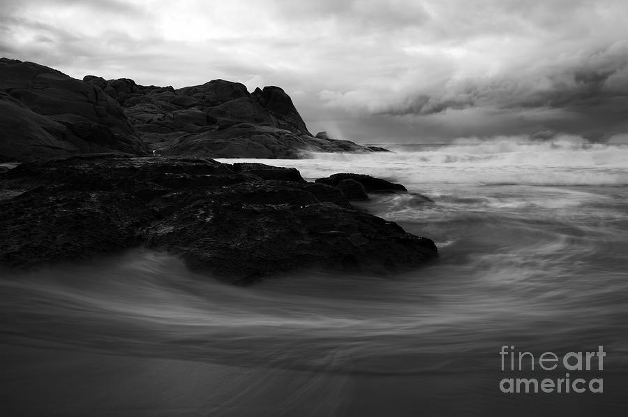 Beach Photograph - Black Rock  Swirl by Mike  Dawson