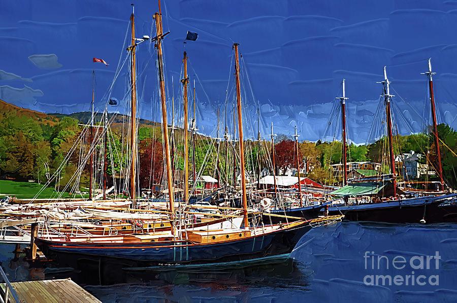 Sailboats Digital Art - Black Sailboats by Kirt Tisdale