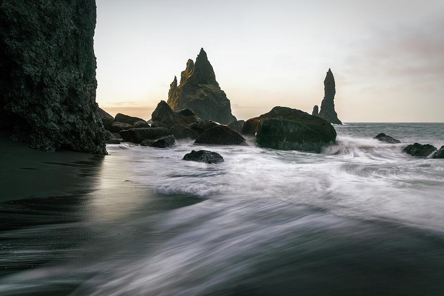 Black Sand Beach In Iceland Photograph