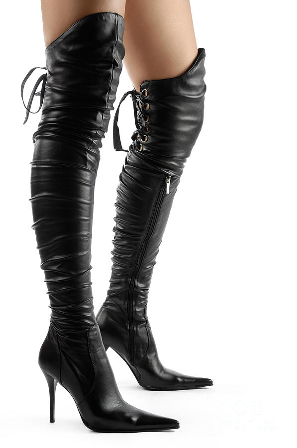 Black Stiletto Thigh High Boots
