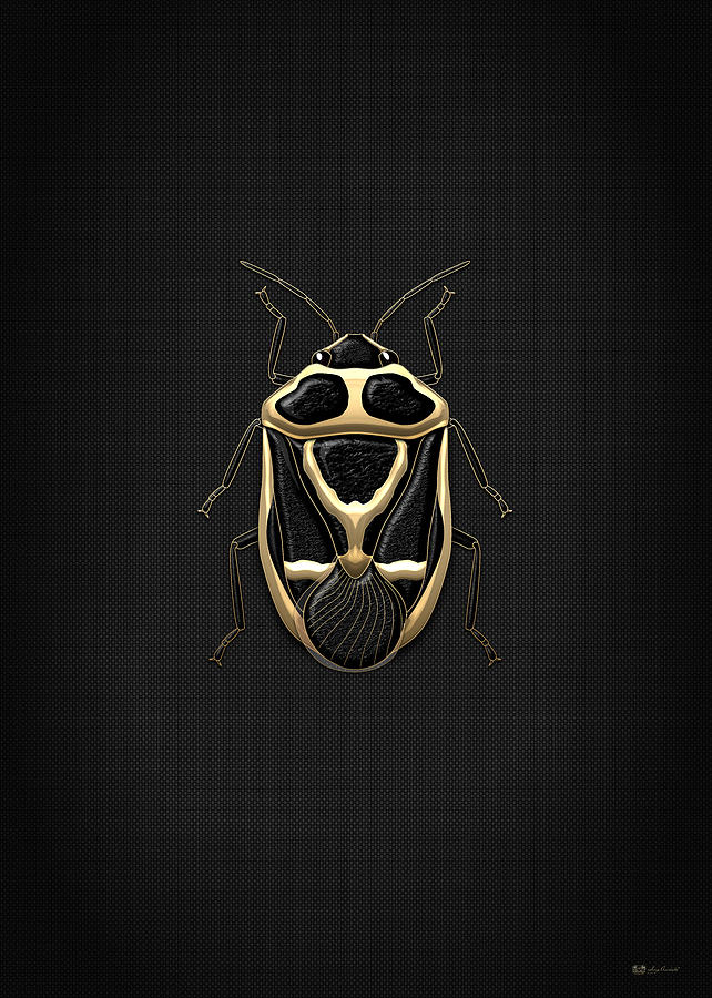 Nature Photograph - Black Shieldbug with Gold Accents  by Serge Averbukh