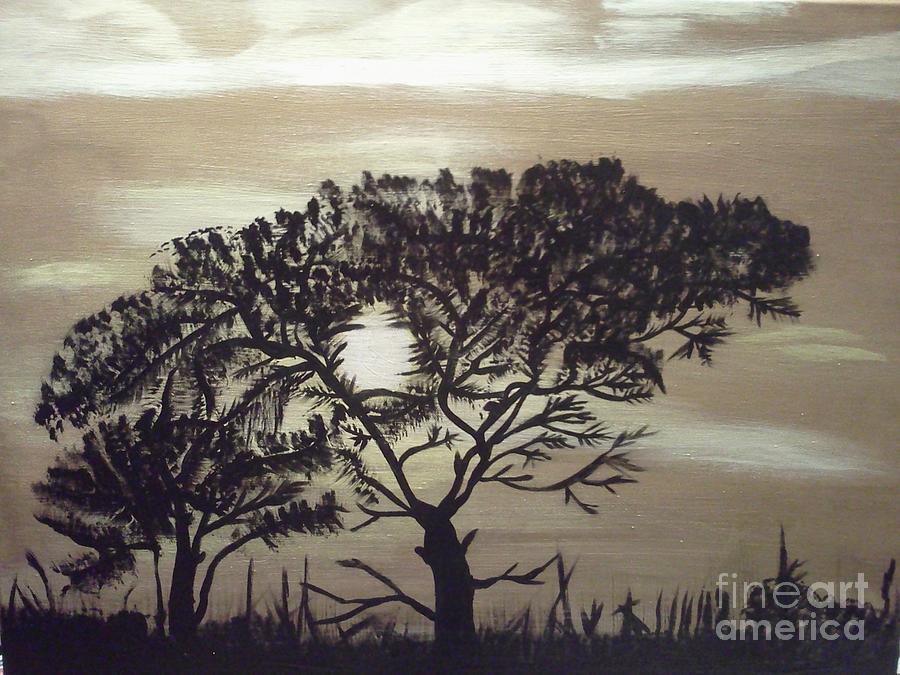 Tree Painting - Black Silhouette Tree by Jimmy Clark