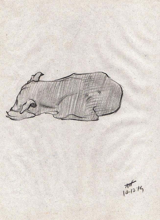 Home Decor Drawing - Black Sketch Of A Dog Sleeping From Front Left  by Makarand Joshi