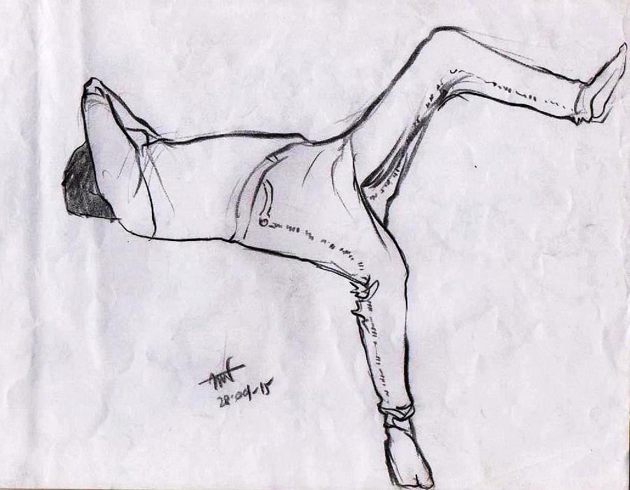 black sketch of a sleeping man covering his face with his hand from right front by Makarand Joshi