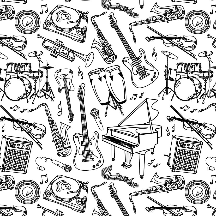 Black sketches of musical instruments on white background