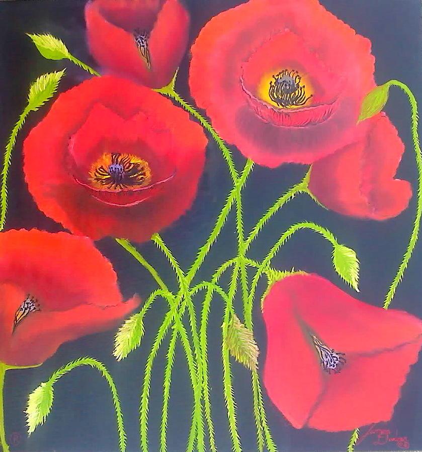 Black Sky Poppies Painting by Dunbars Modern Art