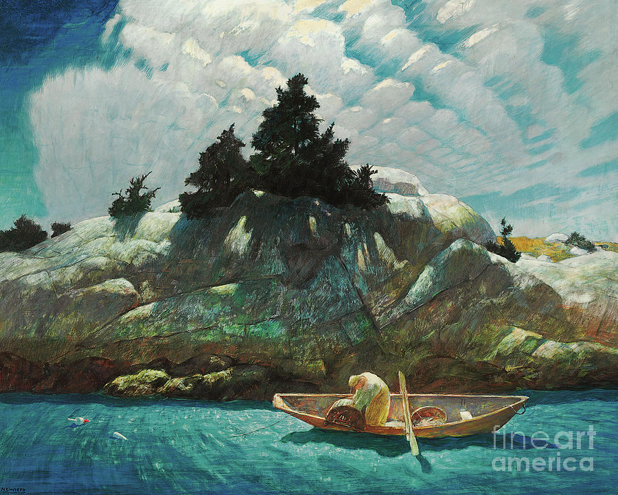 Wyeth Painting - Black Spruce Ledge  Lobstering Off Black Spruce Ledge by Newell Convers Wyeth