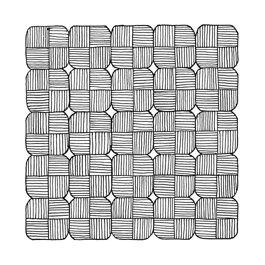 Square Drawing - Black Squares Mosaic by Konstantin Sevostyanov