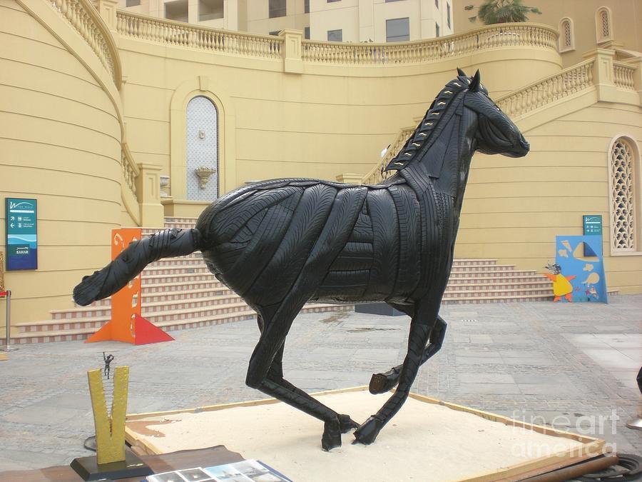 Horse Sculpture - Black Stalion Tyre Sculpture by Mo Siakkou-Flodin