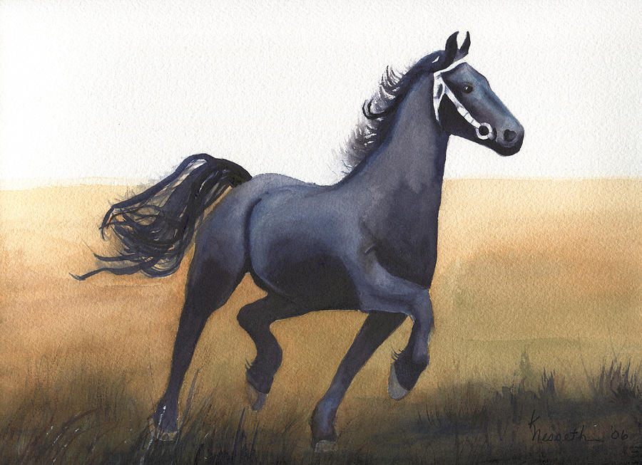 Watercolor Painting - Black Stallion by Kathy Nesseth