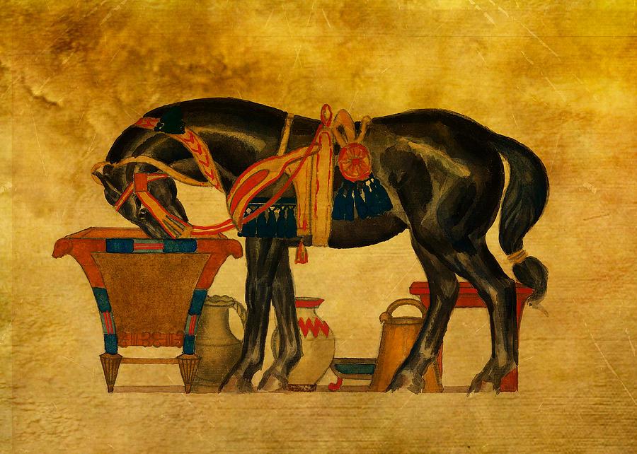Stylised Digital Art - Black Stallion by Sarah Vernon