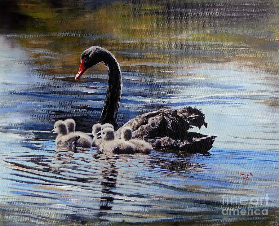 Black Swan and Cygnets No 1 by Ryn Shell