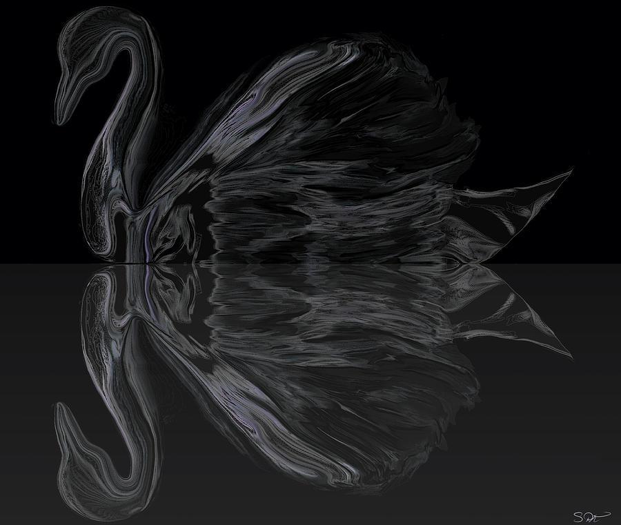 Black Swan under Moonlight. Digital Art by Abstract Angel Artist Stephen K