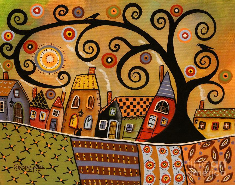 Landscape Painting - Black Swirl Tree Landscape 1 by Karla Gerard