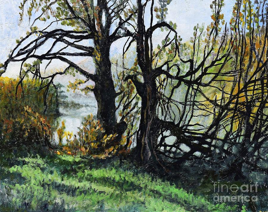 Village Painting - Black Trees Entanglement by Suzann Sines
