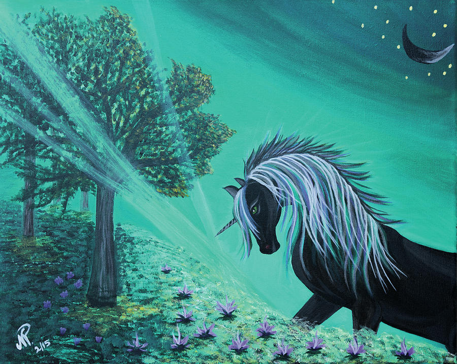 Fantasy Painting - Black Unicorn by Nicole Paquette