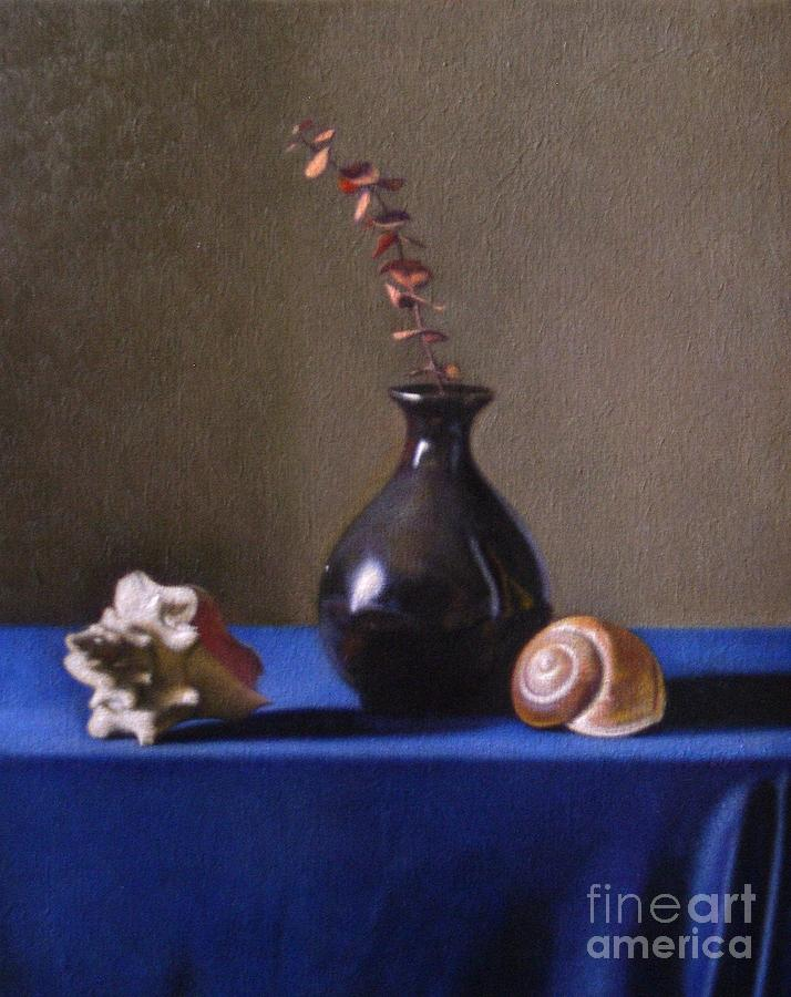 Still Life Painting - Black Vase With Golden Spirals  by Keith Murray