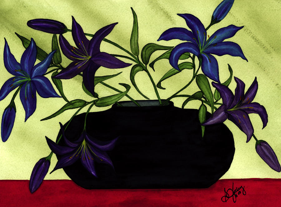 Asian Painting - Black Vase With Lilies by Stephanie  Jolley