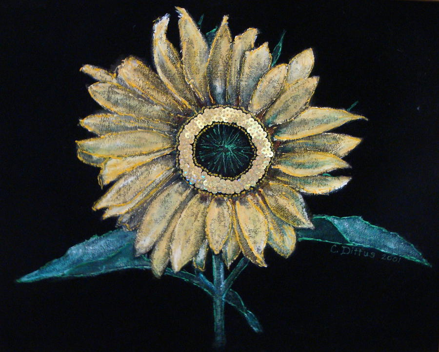 Black Velvet Painting - Black Velvet Sunflower by Chrissey Dittus