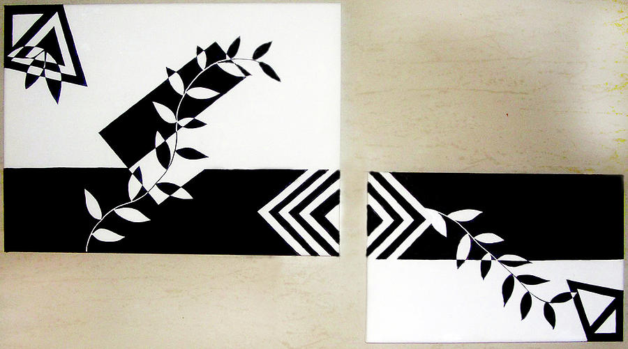 Silhouette Painting - Black Vs White by Farah Faizal