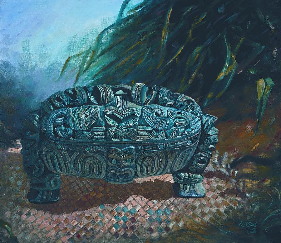 Wakahuia Painting - Black Wakahuia by Peter Jean Caley