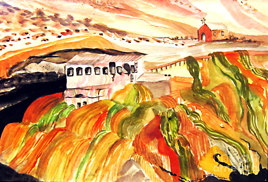 Orange Painting - Black Waters Of The Andes by Marilyn Brooks