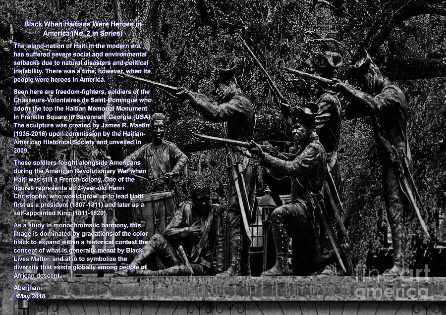 Education Digital Art - Black When Haitians Were Heroes In America Series Print No. 2 With Text by Aberjhani