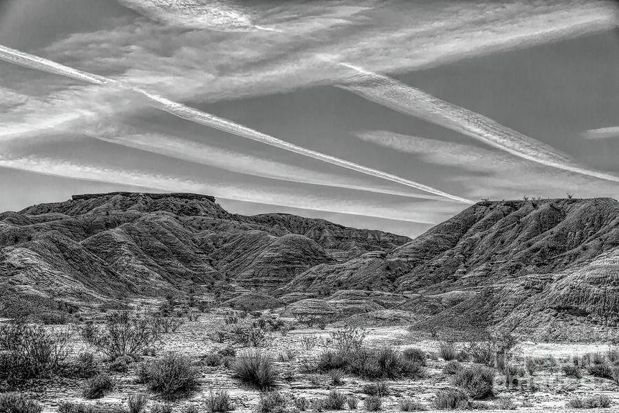 Valley Of Fire Photograph - Black White Chem Trails Sky Overton Nevada  by Chuck Kuhn