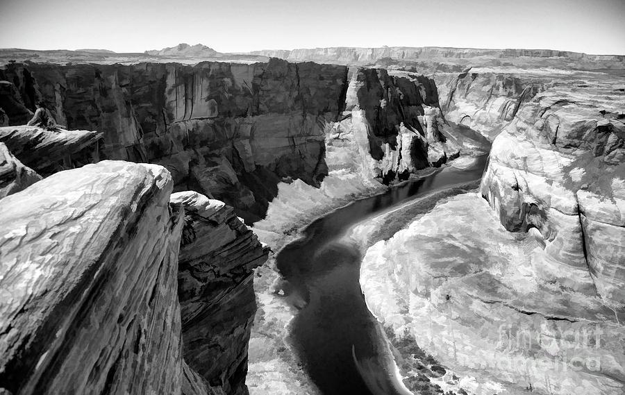 Horseshoe Bend Photograph - Black White Colorado River  by Chuck Kuhn