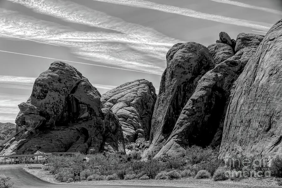 Valley Of Fire Photograph - Black White Valley Of Fire  by Chuck Kuhn