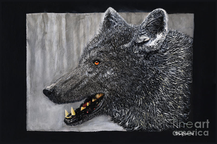 Wolf Painting - Black Wolf The Elder by Kevin Scott Jacobs