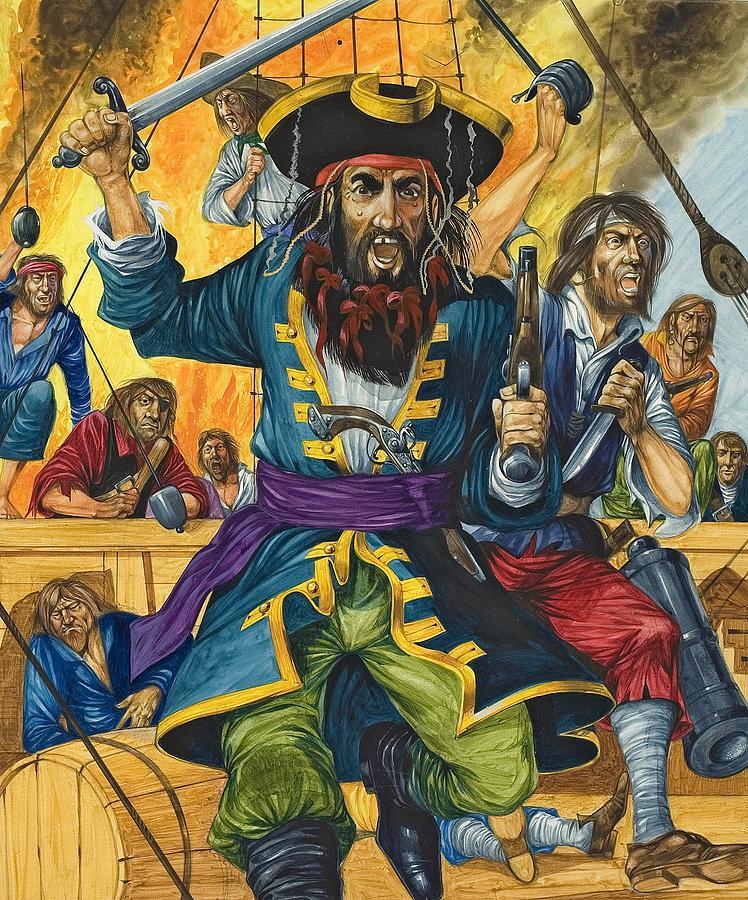 Blackbeard Painting - Blackbeard by Richard Hook
