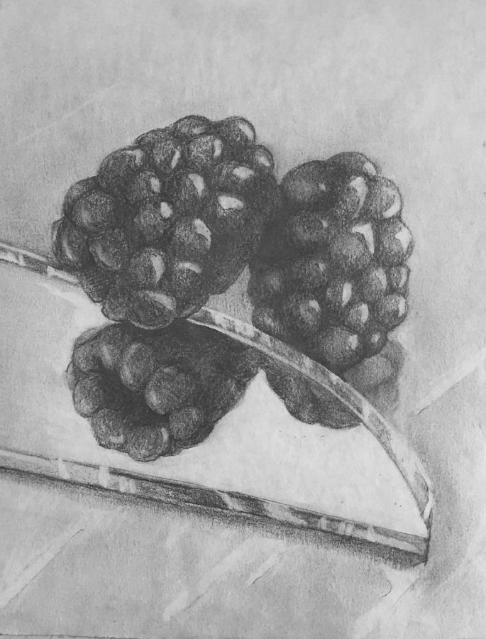 Still Life Drawing - Blackberries On Glass by Paul Terranova