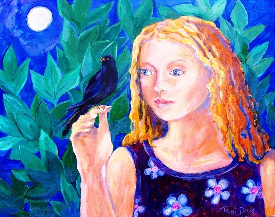 Blackbird Painting - Blackbird Singing In The Dead Of Night  by Trudi Doyle