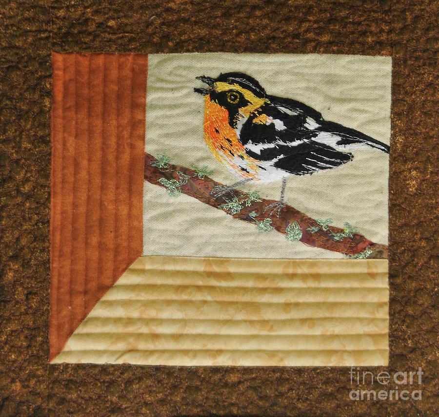 Quilt Tapestry - Textile - Blackburn Warbler by Dolores Fegan