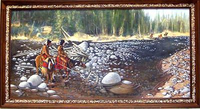 Blackfoot Indian Painting - Blackfoot Scouting Party- Original Acrylic by Larry Wetherholt