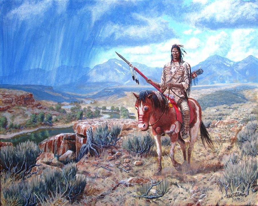 Painted Horse Painting - Blackfoot Warrior by Scott Robertson