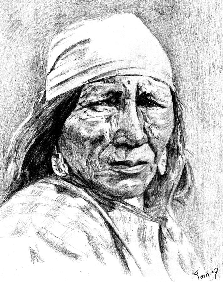Native Americans Drawing - Blackfoot Woman by Toon De Zwart