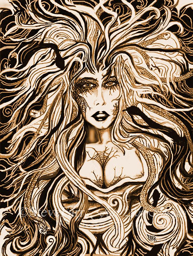 Mythology Mixed Media - Blackmedusa-sepia by Steve Farr