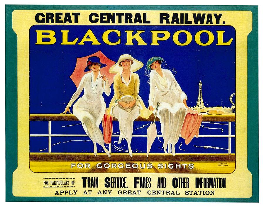 Blackpool, England - Retro Travel Advertising Poster - Three Fashionable Women - Vintage Poster - Mixed Media