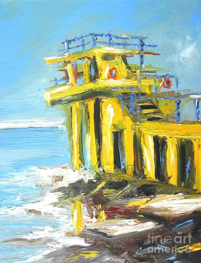 Galway Ireland Painting - Blackrock Diving Board Galway Ireland  by Mary Cahalan Lee- aka PIXI