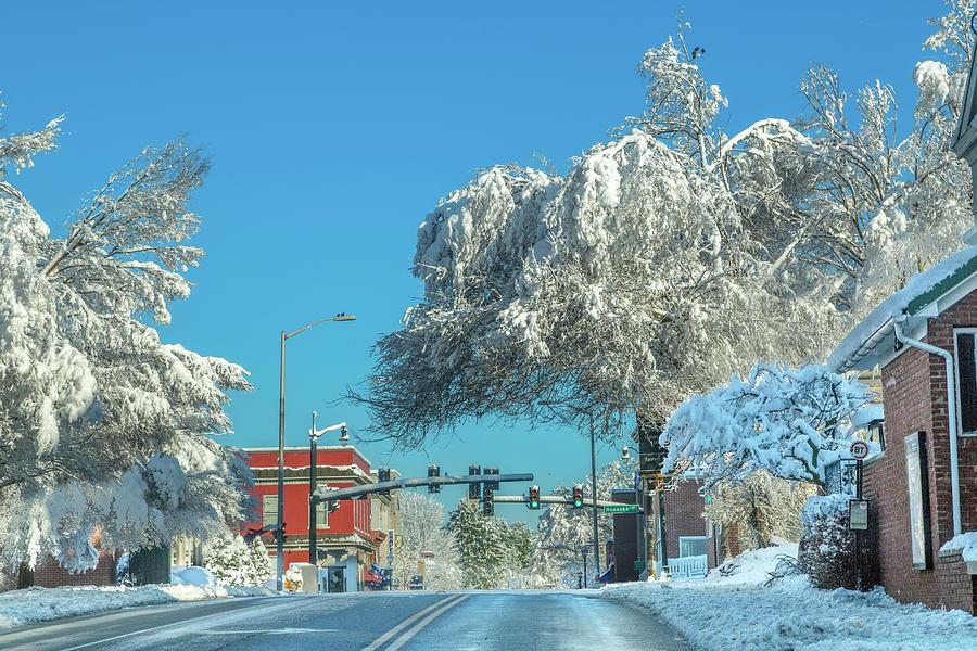 Blacksburg Photograph - Blacksburg Virginia Main Street Sunday Snow 1 by Betsy Knapp