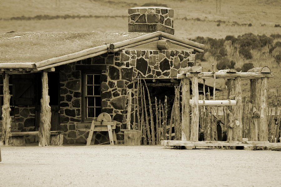1867 Photograph - Blacksmith Shop 1867 Cove Creek Fort Utah Photograph in Sepia by Colleen Cornelius