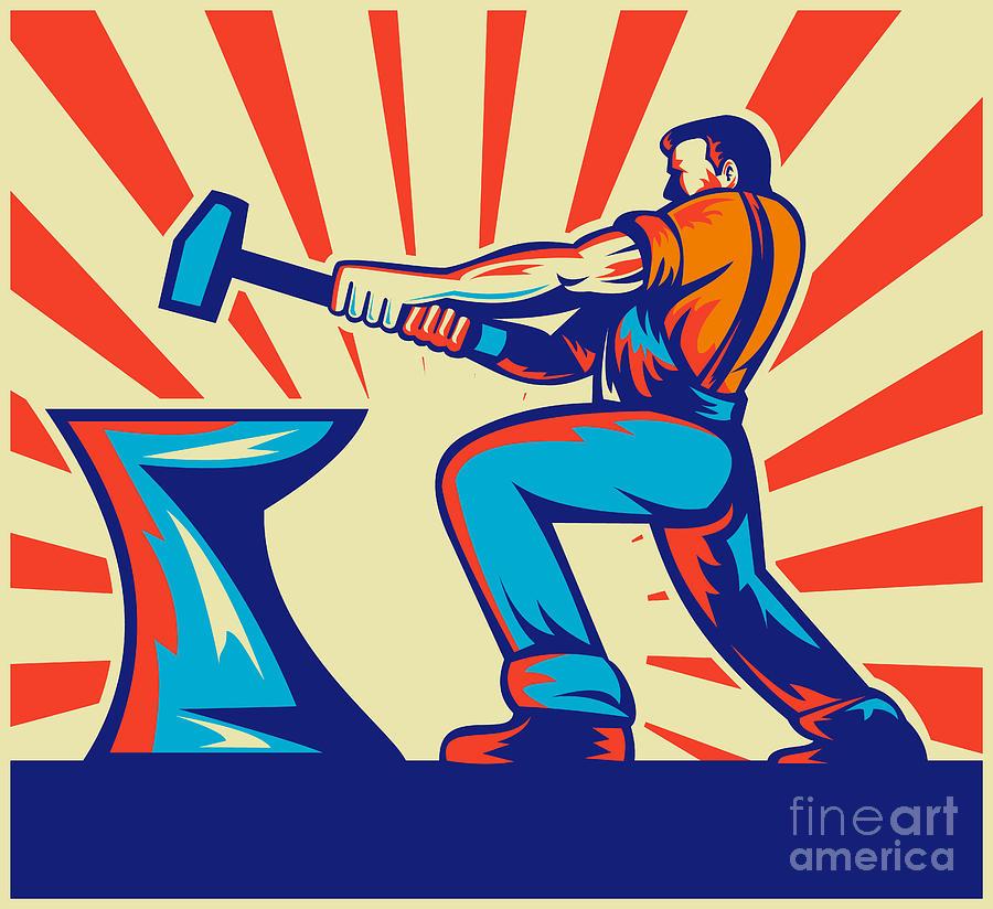 Worker Digital Art - Blacksmith Worker With Hammer by Aloysius Patrimonio