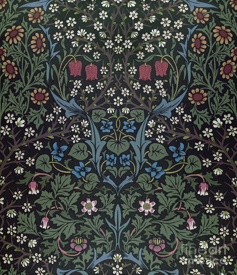 Blackthorn Wallpaper Design Drawing By William Morris