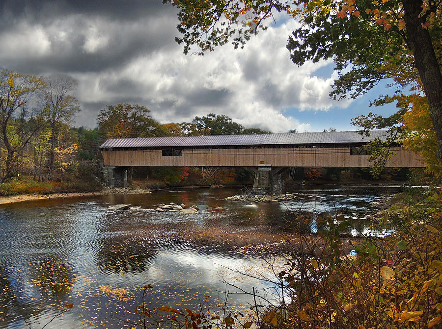 River Photograph - Blair Covered Bridge by Nancy Griswold