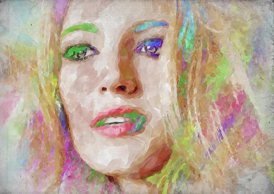 Blake Lively Photograph - Blake Lively Watercolor by Ricky Barnard