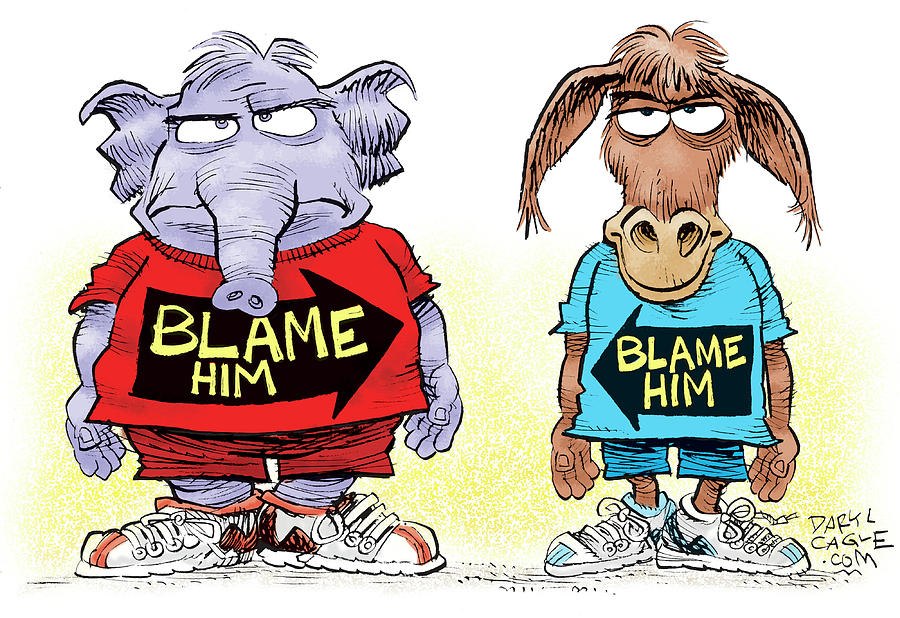 Congress Drawing - Blame Him by Daryl Cagle