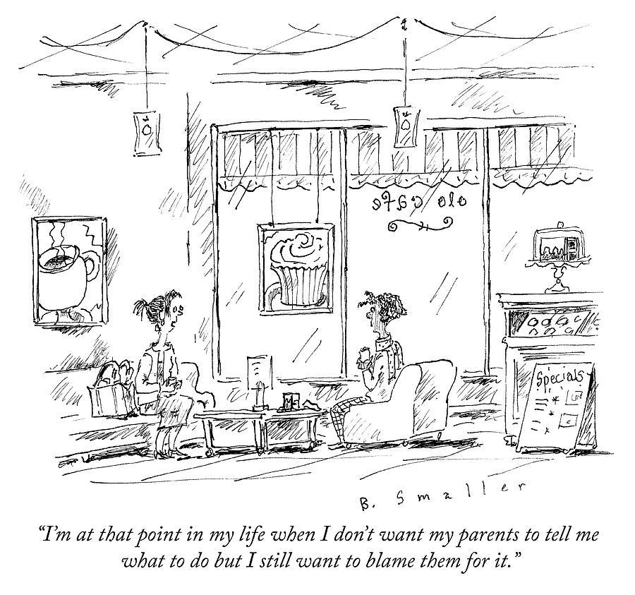 Blaming the Parents Drawing by Barbara Smaller